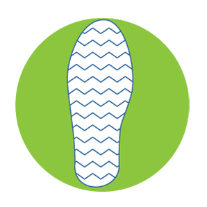 Ideally the tread pattern should extend over the whole sole and heel area