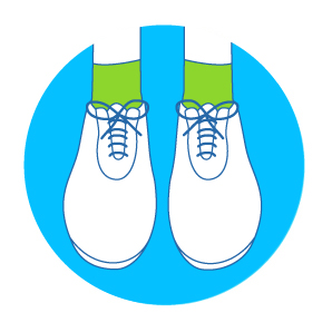 Ensure both shoes are on, correctly fastened and weight evenly distributed on both feet